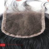Chiusura Premium del merletto con i capelli umani di Remy del brasiliano di 100%