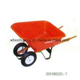 A exploração agrícola utiliza ferramentas o Wheelbarrow chapeado das rodas 80L zinco resistente dobro (WB6430)