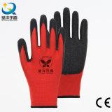 13G de poliéster de color rojo con negro Guantes con recubrimiento de látex