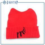 Высокое качество пользовательских зимой Earflap Red Hat с POM POM