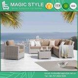 Sofá em vime vime com almofada Sunproof Piscina Wicker sofá 2 lugares Patio Sofá Individual Lazer Conjunto Sofá