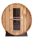 Im Freiensauna-Raum-Zylinder-Sauna mit hölzernem brennendem Ofen/elektrischer Heizung
