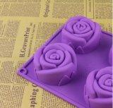 Seul moulage de gâteau de gelée de chocolat de bougie de savon de silicones de catégorie comestible de forme de Rose