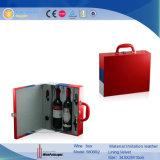 Tres personalizados de cuero de color vino de 2 botellas Caja de regalo (5806)