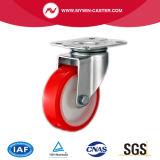 5インチブレーキのない赤いPUの車輪の足車の旋回装置の版