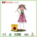 Het Dansende Meisje van uitstekende kwaliteit van het Metaal met Plantpots voor de Decoratie van het Huis en van de Tuin, past Uw Eigen Bloempotten aan