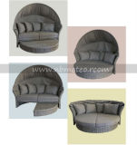 Preiswerter im FreiensofaDaybed der Möbel-Mtc-206 mit Sonnenschirm-/Regenschirm-/Kabinendach-Rattan-Aufenthaltsraum