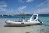 Barco de Liya 20FT Hypalon com o barco inflável rígido da casca da fibra de vidro da certificação do Ce