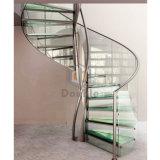 Escalera espiral para el paso de progresión de cristal de la casa con la viga del S.S
