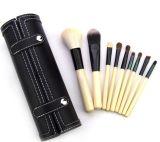 9PCS de nieuwe die Borstel van de Make-up van de Aankomst in het Zwarte Geval van Pu wordt geplaatst