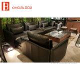 Sofa de luxe de coin de cuir véritable de type réglé pour des meubles de bureau et de salle de séjour