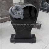 De zwarte Grafsteen van het Hart van de Baby van de Engel van de Steen van het Graniet