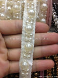 Tessuto di cotone della decorazione dell'abito del testo fisso delle nappe del merletto della catena del metallo della perla di modo