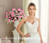 Robe de soirée nuptiale perlée de spaghetti A - ligne robes de mariage de jardin de plage de lacet Rr9010