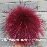 Шарм мешка Pompom шлема шерсти POM Raccoon длинних волос реальный