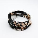 Multi Schicht-Leder schnürt magnetisches Armband für Fshion Schmucksachen