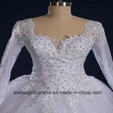 Vestido de casamento romântico longo do vestido de casamento do laço das luvas do vintage luxuoso