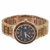 Acciaio inossidabile con l'orologio del quarzo degli uomini di legno con movimento giapponese