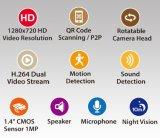 1.0MP H. 264 720p de Draadloze de IRL-Besnoeiing van Webcam van de Camera van WiFi IP Visie van de Nacht