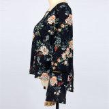 서쪽 작풍 최신 새 모델 셔츠 여자 좋은 품질 레이스 덧대어깁기 꽃에 의하여 인쇄되는 시퐁 블라우스