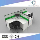 Mesa de trabajo en forma de L moderna estación de trabajo de madera con cristal de tabique (CAS-W1884)