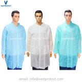 Cappotto non tessuto medico bianco a gettare protettivo del laboratorio del polipropilene SMS pp