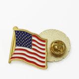 供給に安い卸し売り真鍮のアメリカの機密保護をする折りえりPinクロス・カントリーのフラグの折りえりPin