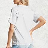 소매 t-셔츠가 편한 도표 인쇄 여자에 의하여 누전한다