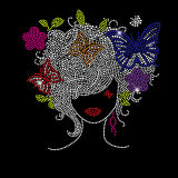 Faíscas Butterfly Preto menina afro Rhinestone Hotfix Transferência Motif