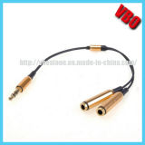 ¡Caliente! Chapado en oro de 3,5 mm para auriculares Splitter Cable de audio 1 en 2 de audio estéreo para iPod iPhone