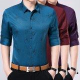 Camicia lunga stampata degli uomini del manicotto di affari del cotone di seta
