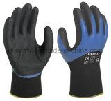 Перчатка работы безопасности с 3/4 черных окунать нитрила Sandy (N1572)