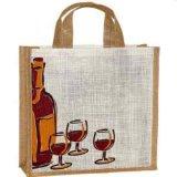로고를 가진 쇼핑 핸드백 황마 부대 또는 선물을%s 패턴