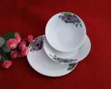 Louça branca redonda ajustada com flor Hand-Painted