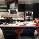 Mobília preta da cozinha da placa do MDF da laca do cozimento das luzes elevadas modernas novas da patente de Bck