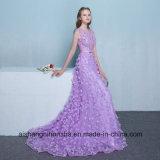 Lange Abend-Kleid-Spitze-Blume Sleeveless Fußboden-Länge Abschlussball-Partei-Kleider