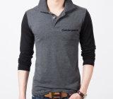 주문 신식 면 남자 회색 인쇄 폴로 t-셔츠