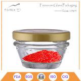 Vaso di vetro del caviale con la protezione del metallo, contenitore del caviale, vasi d'inscatolamento del caviale