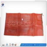 Красный поли мешок сетки для упаковывая померанцев и картошек