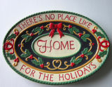 Louça de Natal Prato oval de cerâmica pintada à mão (GW1294)