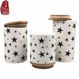 vaso della caramella della scatola metallica del tè del caffè dell'alimento di disegno della stella 1100ml con il coperchio di bambù