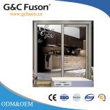Grand double en aluminium en verre glacé glissant la porte intérieure