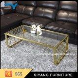 居間の家具の現代ガラス表の光沢度の高いコーヒーテーブル