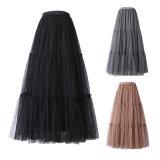 Falda elástico de la cintura de la alineada maxi larga