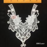 25*30cmの流行の花嫁のミルクの白い花および方法カーブHml8580が付いている絹の水溶性の刺繍カラートリミングのレースファブリックアクセサリ