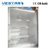 Les portes en verre de double d'acier inoxydable manifestent côte à côte le réfrigérateur vertical