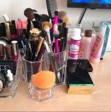 Prime Support de brosse de maquillage en acrylique 5.5X5.5X4.7inch, 3 compartiments de l'organiseur