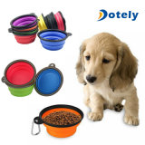 Assiette extensible pliable de cuvette compressible de crabot de course pour la nourriture de l'eau d'aliments pour chats d'animal familier