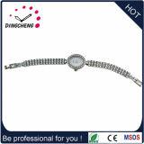 Reloj ajustable de la alineada de la manera del Wristband de la caja material de plata de la aleación para las señoras