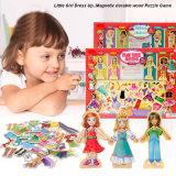 Magnético de madeira Princess Dress Up Puzzle para Girl